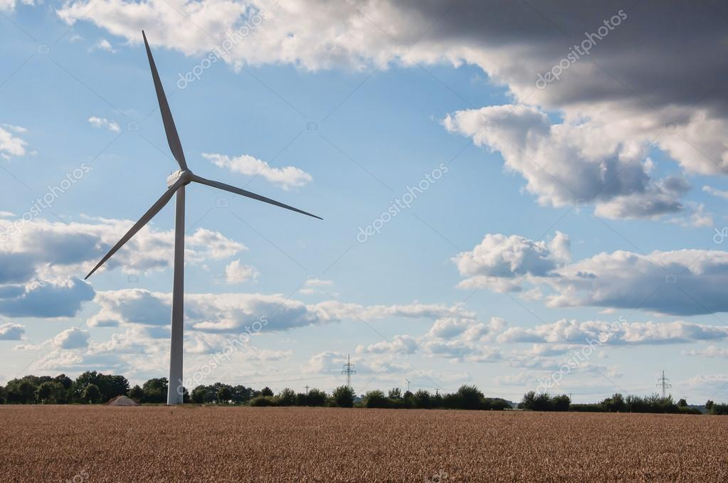 Wind turbines farm in summer day — Stock Photo #13663440