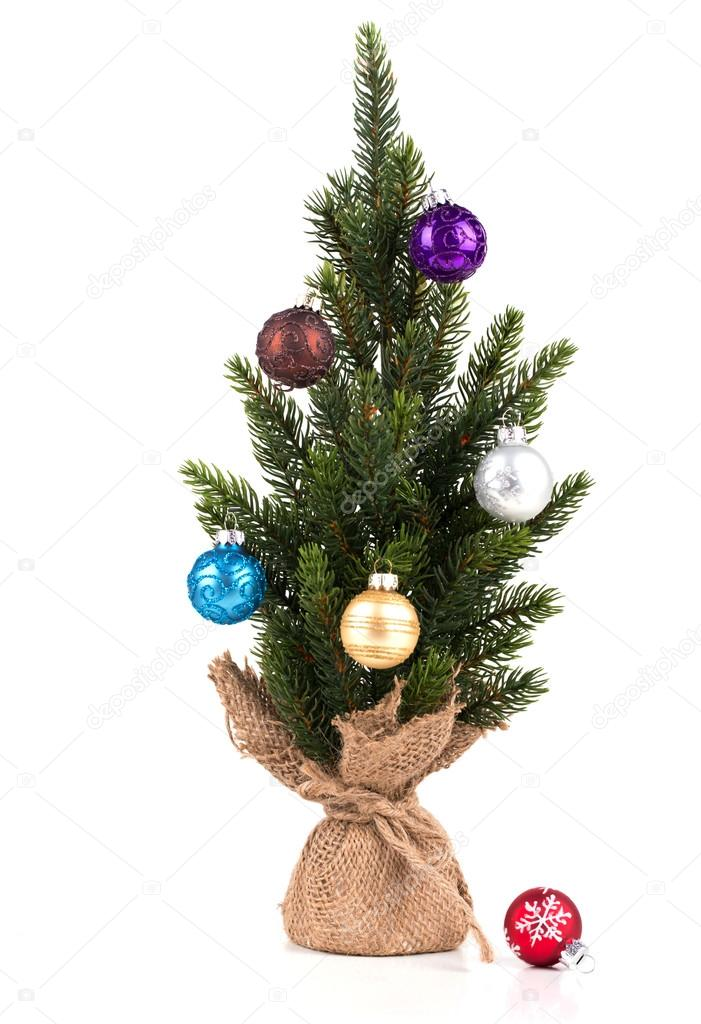 Christmas tree on white background whit ball  Stock Photo #14369641