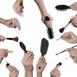 Many hands with make up equipment — Stock Photo