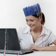 Woman at work at christmas time — Stock Photo #18837831