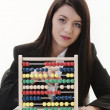 Woman with the abacus — Stockfoto