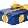 Stock Photo: Gift blue box, isolated on white background.