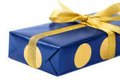 Gift blue box, isolated on white background. — Stock Photo