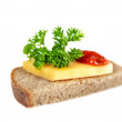 Sandwich, isolated on  white background. — Stock Photo