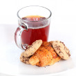 Breakfast with croissants,chocolate cookies and tea — Stock Photo