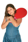 Girl with a racket ping-pong — Stock Photo