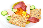 Meat and vegetable appetizers — Stock Photo