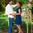 Ouple in a tropical garden  — Stock Photo