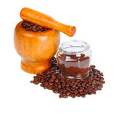 Black coffee and coffee beans — Stock Photo