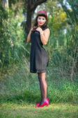 Pin-up brunette woman — Stock Photo