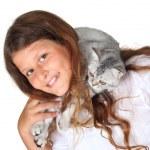 klein meisje en kitten — Stockfoto