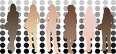 Silhouettes of girls with different skin tones — Stock Vector