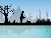 Fisherman in nature — Stock Vector