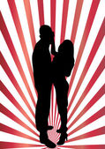 Dancing couple silhouette — Stock Vector