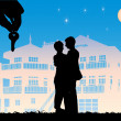Young couple dreaming — Imagen vectorial