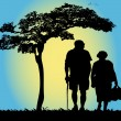 Stock Vector: Old couple walking