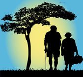 Old couple walking — Stock Vector