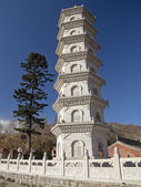 Decorative pagoda in the courtyard of the monastery in Wutai Shan — Stock Photo
