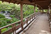 花园里的木质走廊 — 图库照片