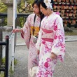 Stock Photo: Japanese tourists visitors to temples in kimonos