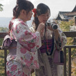 Stock Photo: Tourism visitors to Kiyomizu Temple in Kyoto