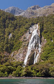 Waterfall at the port Mildford Sound — Stock Photo