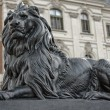 Stone lion in front of the palace in Pszczyna — Stock Photo #35613633