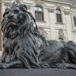 Stone lion in front of the palace in Pszczyna — Stock Photo