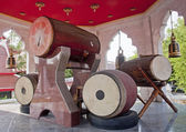 Traditional drums in a Buddhist temple — Stock Photo