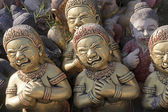 Demon statues in the seaside temple on the beach — Foto Stock