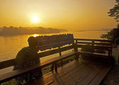 Sunrise over the river in Chiang Khong — Stock Photo