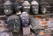 Head of old Buddha statues in Ayutthaya — Stock Photo