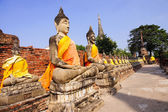 Buddha statues at Wat Yai Chai Mongkol in Ayutthaya  — Stock Photo