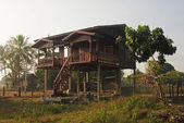 House on stilts in Laos — Stock Photo