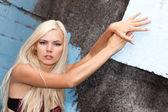 Młode gorące blond modelu w seksowną bieliznę — Zdjęcie stockowe