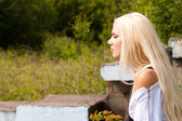 Young sensual girl with blond hair outdoor — Stock Photo