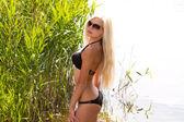 Gorgeous blond girl in bikini on the beach — Stock Photo