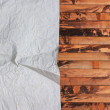 Vintage crumpled paper on wood - Stockfoto