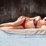 Lovely blond model in seductive lingerie — Stock Photo