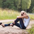 Sensual blond lady outdoor — Stock Photo