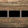 Blank photo frames on a dark wooden background - 图库照片