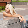 Sexy blond girl  outdoor — Stock fotografie