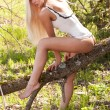 Stockfoto: Hot and sexy blond model in forest