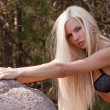 Young sexy blond girl outdoor — Stok fotoğraf