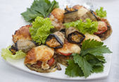Plate with selction of stuffed vegetables — Stock Photo