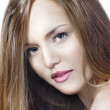 Sensual woman model with straight long blond hair — Stock Photo