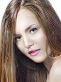 Sensual Woman Modell mit gleich langen blonden Haaren — Stockfoto