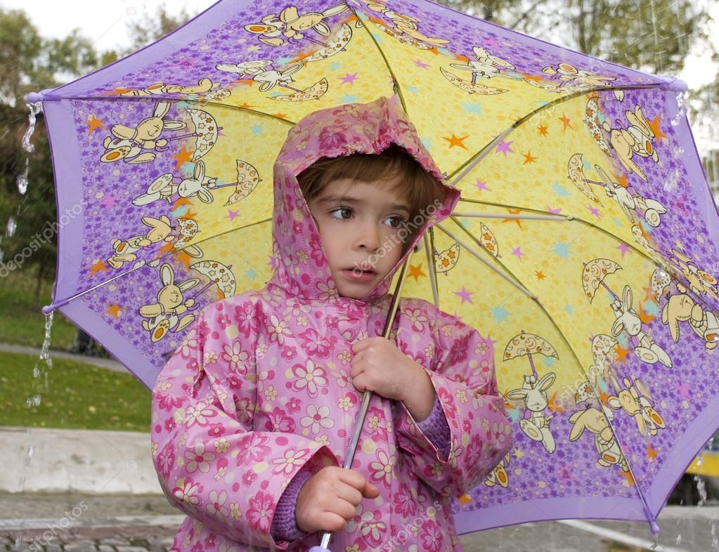 Girl with an umbrella in the rain  Stock Photo #12452840