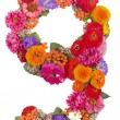 Number 9 made from flowers — Stockfoto #12882436