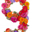 Number 9 made from flowers - Stock Photo